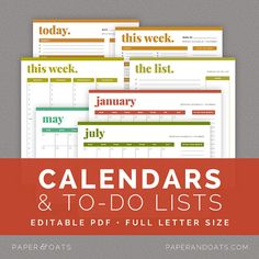 Calendars & To Do Lists – Editable, Daily, Weekly And Monthly Planners…
