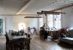 """Tracey Emin's first studio was a shared classroom that cost £22 per week. She now works in a purpose-built studio constructed inside a Victorian outer shell. """"The studio is where I work. I would never work at home,"""" she says."""