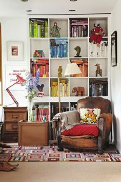 An inviting reading and relaxing space featured in 'Making A House Your Home.'