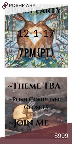 🔮Join Me For My Second Party🔮 ✨12-1-17 at 7PM✨Posh Compliant Closets✨Looking For Unique And Magical Host Picks✨I'll Announce The Theme As The Date Gets Close✨Please Join Me✨ Free People Other
