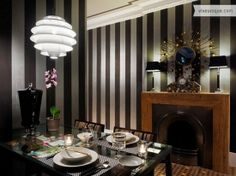 Dining Room with black and white stripes.