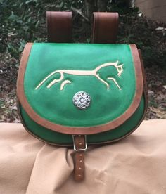 Hand tooled brown and green leather belt pouch featuring the Uffington Horse - SCA/Dagorhir/LARP/Celtic
