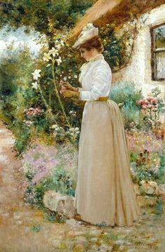 Lady Picking Flowers by Dawson Dawson-Watson, 1864-1939