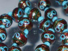 RARE VENETIAN GLASS BEAD NECKLACE WITH ADVENTURINE & TURQUOISE DESIGN. C1920