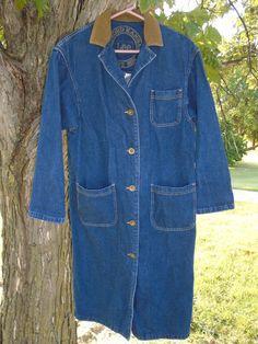 Vintage Women's Lee Duster Coat Blue Jean Denim Small USA  Steampunk RN34783 #LEE #DuffleCoatSteampunkOldSchoolVintage
