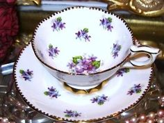 Bone China Tea Cups Value | ... -SWEET-VIOLETS-PURPLE-CHINTZ-ENGLAND-BONE-CHINA-Tea-Cup-and-Saucer