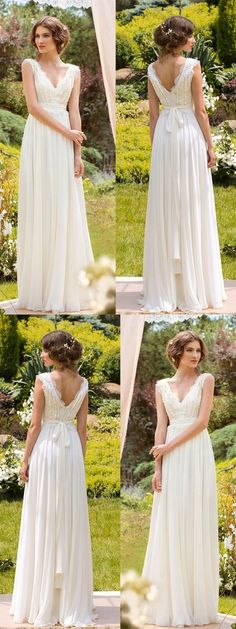 Simple Wedding Dresses V-neck Floor-length Chiffon Sexy Lace Bridal Gown  JKW170 4666ad54dc