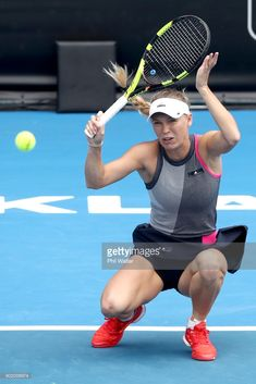 Caroline Wozniaki of Denmark plays a forehand during the Womens Singles Final against Julia Goerges of Germany during day seven of the ASB Women's Classic at ASB Tennis Centre on January 2018 in Auckland, New Zealand. (Photo by Phil Walter/Getty Images) Wta Tennis, Sport Tennis, Soccer, Caroline Wozniacki Tennis, Cristiano Ronaldo, Julia Goerges, Steffi Graf, Dancer Photography, Tennis Center
