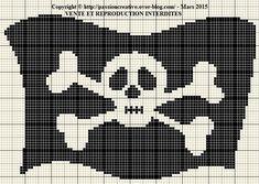 Grille gratuite point de croix : Drapeau de pirate - Le blog de Isabelle