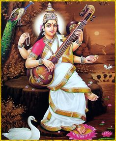 Goddess Saraswati Devi 977 - prayer beads in one hand, holy texts in another and two hands to play the sitar Saraswati Mata, Saraswati Goddess, Shiva Shakti, Indiana, Lord Murugan Wallpapers, Lord Shiva Family, Hindu Dharma, Hindu Deities, God Pictures