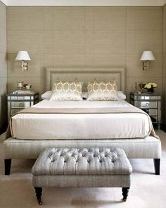 Mirrored side tables // neutral bedroom