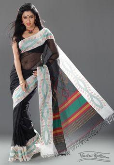 Black Linen Saree with Dhakai Border