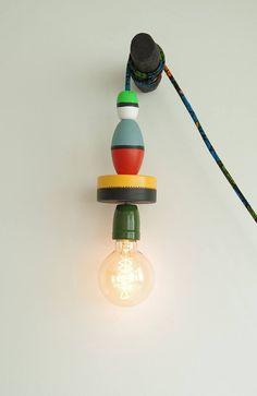 Lamp made by hand, made of painted and varnished fishing floats, cm long electric wire is trimmed wax fabrics. Bulb and hanger sold separately. Electrical Wiring, Hanger, Bulb, Table Lamp, Boutique, Fabric, Handmade, Etsy, Home Decor