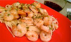 Gambas al Ajillo~ Garlic Shrimp with Jalapeno, Lime, Cilantro and Parmesan on Pasta | theGREENhs