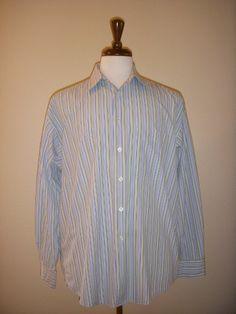 BURBERRY Blue Green White Stripe Long Sleeve Dress Shirt, Size LARGE #Burberry