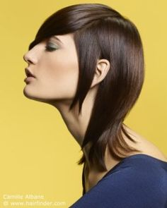 Hairstyle with different hair lengthts. Brown hair.