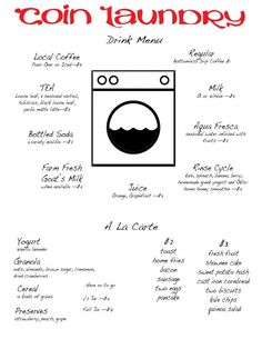 Sample #menu for Coin Laundry #Cafe, take a look, I'm open to suggestions