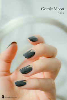 Gold and black Gothic moon nails  click through for a how to