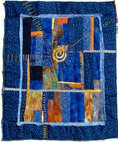 Blue Collage Art Quilt Wall Hanging Handstitched
