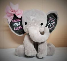 This adorable elephant is adorned with your babys birth details and name. I use high quality heat transfer vinyl and a heat press to apply ensuring long lasting durability. These personalized plushies are 9 tall and are a special, one of a kind gift that will be cherished for many years! Create a unique and memorable personalized gift for any occasion, making it a special keepsake. If you want different writing or quotes, please message me to discuss. Dont forget baptisms, birthdays, baby…