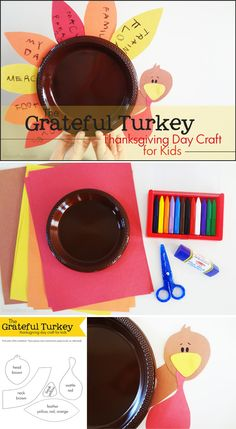 The Grateful Turkey Thanksgiving Day Craft for Kids-- what I really like about this is that it can become their eating plate, not just a decoration!
