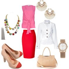 Red & PInk outfit w/ White jacket cute v day outfits