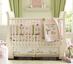 Hayley Nursery Bedding Set #pbkids I would love this green and white polka dot fabric as a crib skirt.
