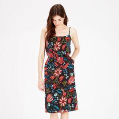 Warehouse, Botanical Drawn Floral Dress Black Pattern 1