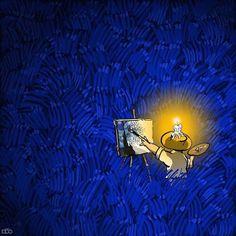Cartoonist Illustrates the Remarkable Life of Vincent van Gogh in Colorful Comics Van Gogh Cartoons by Alireza Karimi Moghaddam Vincent Van Gogh, Van Gogh Arte, Van Gogh Pinturas, Ciel Nocturne, Most Famous Paintings, Van Gogh Paintings, Creative Illustration, Wassily Kandinsky, Abstract Landscape