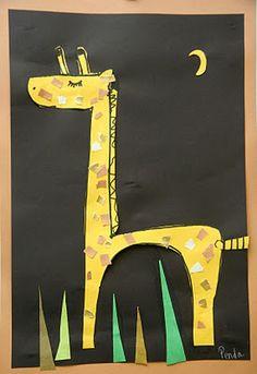 Splish Splash Splatter: Kindergarten Giraffes Inspired by African Art Lessons by DSS Giraffe Crafts, Giraffe Art, Kindergarten Art Lessons, Art Lessons Elementary, Kindergarten Crafts, Giraffes Cant Dance, Classe D'art, First Grade Art, Animal Art Projects