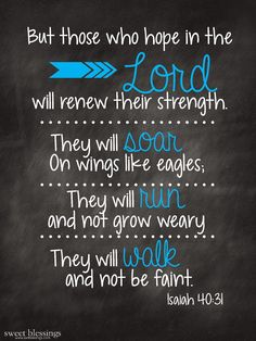 But those who hope in the Lord will renew their strength.  They will soar on wings like eagles.  They will run and not grow weary.  They will walk and not be faint.  -Isaiah 40:31
