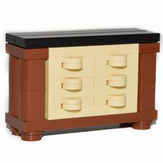 LEGO Furniture: Bedroom Dresser - 3 Tone (brown,tan,black)  [town,minifig,parts]…