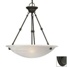 Shop Galaxy Ofelia 20-in W Oil-Rubbed Bronze Pendant Light with White Shade at Lowes.com $118