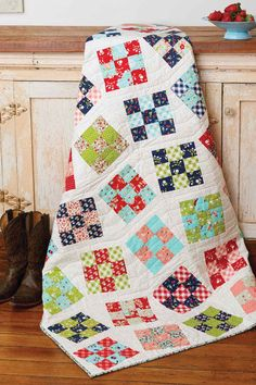 Line Dance is not just a throw quilt pattern, it uses a simple technique to make your Nine-Patch quilt blocks go topsy turvy. And, pre-cuts make this easy!