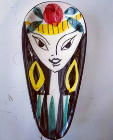"Polubienia: 6, komentarze: 0 – modern (@modern_old2new) na Instagramie: ""Inger Waage handpainted Norwegian Stavangerflint spoon rest #yellow #woman #face #black #pottery…"" Spoon Rest, Woman Face, Scandinavian, Pottery, Hand Painted, Ceramics, Yellow, Modern, Black"