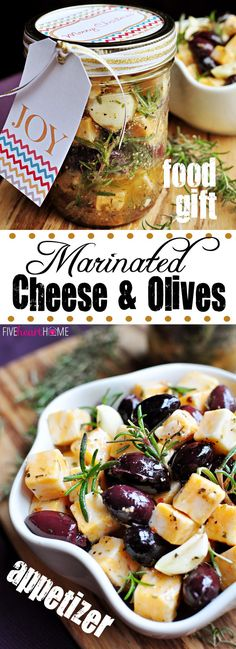 Marinated Cheese and Olives ~ holiday appetizer or food gift idea Holiday Appetizers, Appetizer Recipes, Holiday Recipes, Cheese Appetizers, Party Appetizers, Marinated Cheese, Marinated Olives, Fingers Food, Homemade Food Gifts