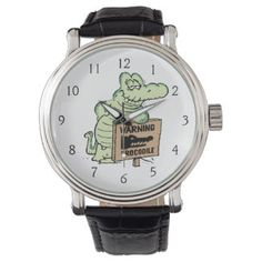 Look at the time. It's a 40% off watch and clock sale on Zazzle. #swampcartoonwatches #cartoonwatches #crocodilewatch #funnywatch
