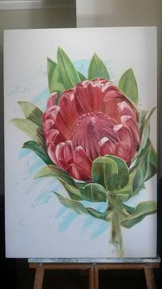 Oil on canvas by FB artist Molawrenson Protea. Oil on canvas by FB artist Molawrenson Flor Protea, Protea Art, Protea Flower, Acrylic Flowers, Oil Painting Flowers, Botanical Art, Botanical Illustration, Diy Canvas Art, Oil On Canvas