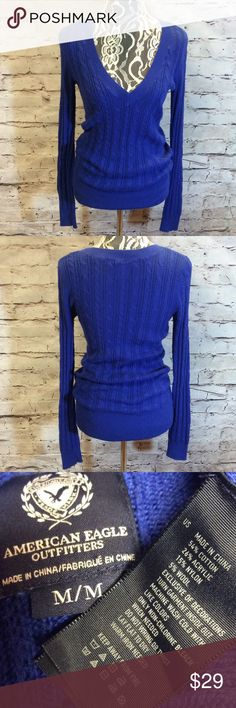 AMERICAN EAGLE OUTFITTERS ROYAL BLUE SWEATER This is one of my very favorite colors of blue. Very gently used in a cable design with a deep V-neck. It does have some minor pilling that needs removing but nothing drastic. American Eagle Outfitters Sweaters V-Necks