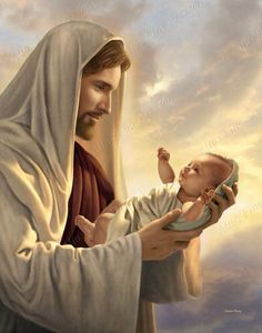 Christ with baby. In His Constant Care Pictures of Jesus with Children by Simon Dewey Pictures Of Christ, Religious Pictures, Religious Art, Church Pictures, Bible Pictures, Simon Dewey, Images Bible, Image Jesus, Première Communion