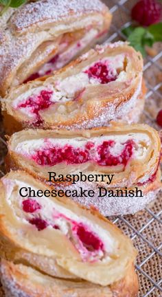 Raspberry Cheesecake Danish Recipe is a Puff Pastry braid filled with a cheesecake filling and raspberries. A Puff Pastry Recipe that's easy to make and tastes wonderful! #cheesecake #dessert Best Dessert Recipes, Appetizer Recipes, Sweet Recipes, Cookie Recipes, Top Recipes, Yummy Recipes, Winter Desserts, Easy Desserts, Delicious Desserts