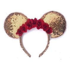 Beauty and the Beast Ears Belle Minnie Mouse Ears Disney Ears Sequin Gold Ears Beauty and the Beast Headband Sequin Ears Mickey Mouse Ears - Disney Ideen Disney Diy, Diy Disney Ears, Disney Minnie Mouse Ears, Disney Crafts, Disney Headbands, Disney Inspired, Beauty And The Beast, Etsy, Disneyland 2017
