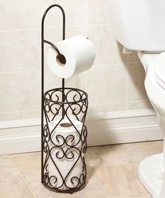 """5.25""""W x 20.5""""T x 4.75""""D ❤❤❤!OMGOSH!❤❤❤ I REALLY ❤ WANT THIS!!! IT'SPERFECT ❤❤❌❌❤❤  Loving this Orb Harlequin Toilet Paper Stand on #zulily! #zulilyfinds"""