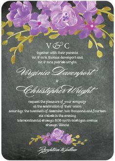 Chalkboard Floral Wedding Invites