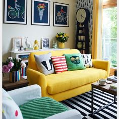 """""""I love this yellow #sofa  in wich highlight these beautiful #cushions designed by @donnawilsonltd"""""""
