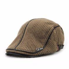 Men Women Wool Knitting Beret Caps Newsboy  Buckle Adjustable Casual Outdoors Peaked Hat