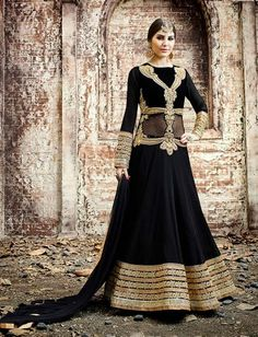 Black Georgette Resham Zari Embroidered Anarkali Suit $133.61 #weddingsuit #festivalsuit #designersuit #anarkalisuit #eidcollection #partywearsuit #floorlength #fashionumang
