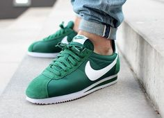 Trendy Sneakers 2018 Nike Classic Cortez Nylon 'Gorge Green' post image - Go to Source - Zapatillas Nike Cortez, Zapatillas Casual, Nike Cortez Mens, Nike Classic Cortez, Streetwear, Shoes Stand, Fashion Shoes, Mens Fashion, New Shoes
