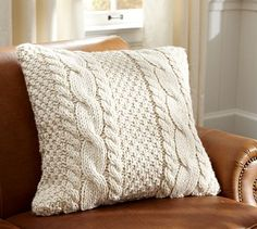Hand-Knit Cable Pillow Cover #potterybarn