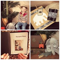 """After having their picture made guest moved to the """"activity station"""" where they decorated paper bags for their Safari Adventure.  Each guest also received a pair of custom binoculars, aren't they cute!?  After everyone had their gear they were ready for an adventure.  The kids headed off on a Safari Adventure looking for plastic animals that had been hidden around the house.  We stamped their passport books to keep track of what animals they found on their adventure, when their book was…"""